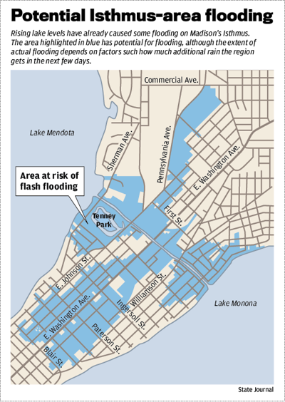 Potential Isthmus-area flooding