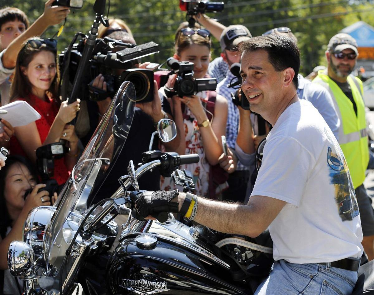 Scott Walker goes back to basics with motorcycle tour