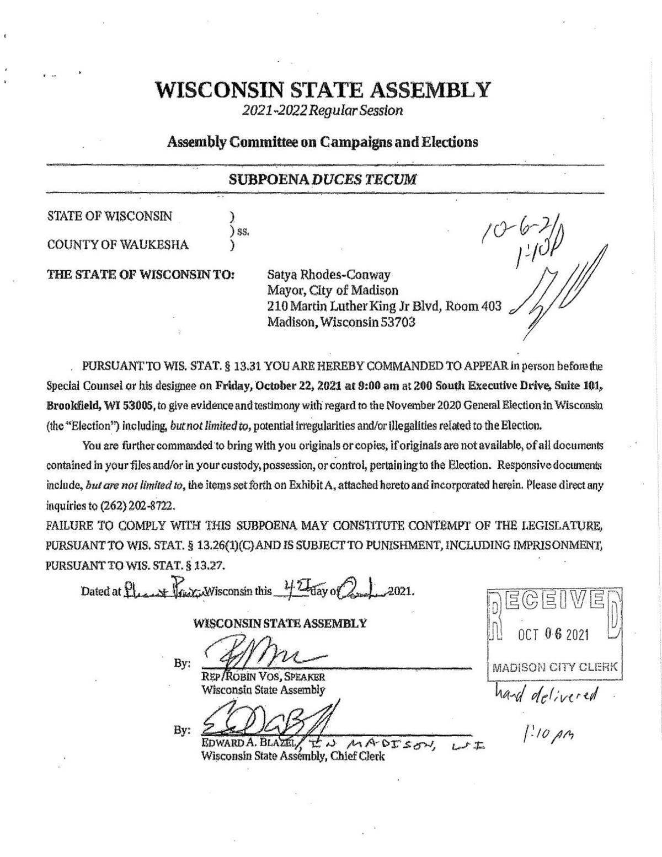 Read the subpoena of Madison Mayor Satya Rhodes-Conway
