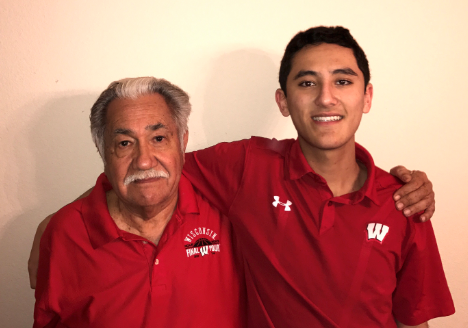 Luciano Barraza with his grandson