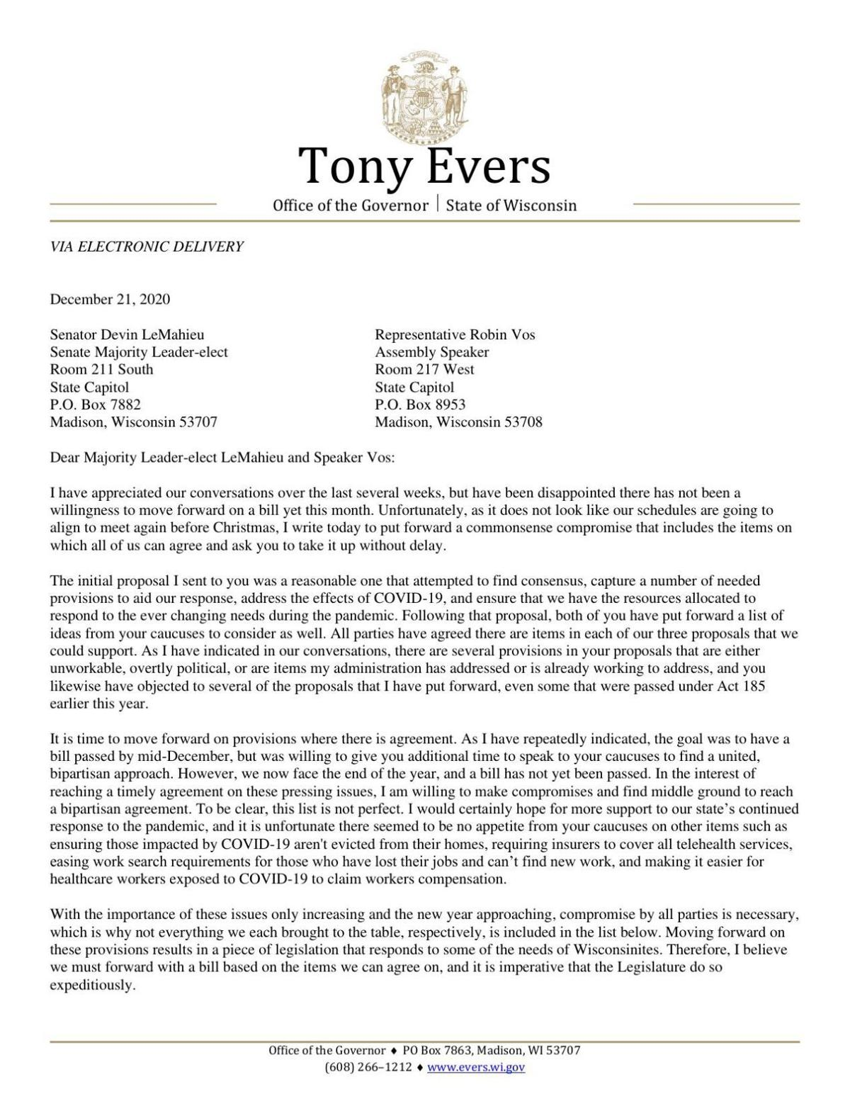 Evers GOP letter