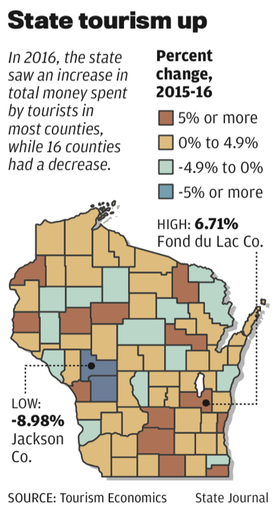 Wisconsin tourism map