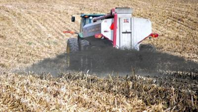 Manure spread on corn stubble