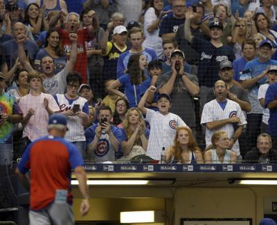 Cubs fans at Miller Park, AP photo