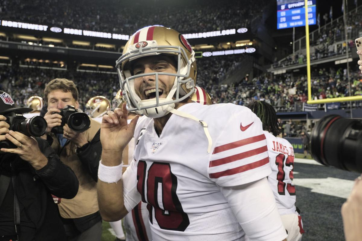 Jimmy Garoppolo smiles, AP photo