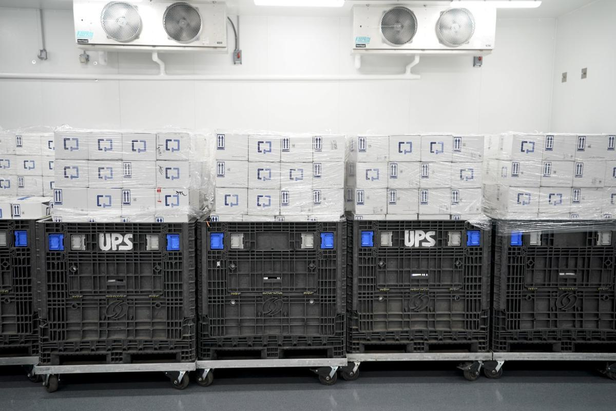 Boxes of completed Cologuard tests, State Journal photo
