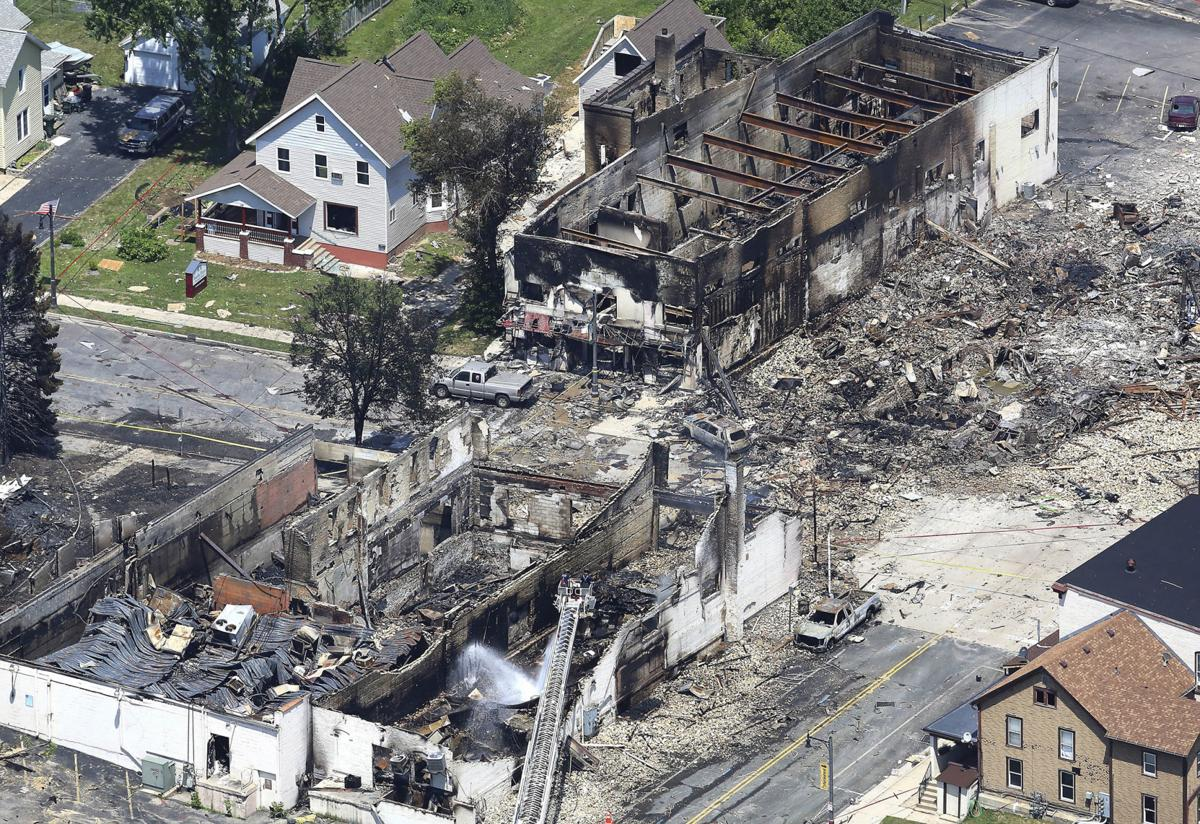 Sun Prairie gas leak explosion aerial, State Journal photo