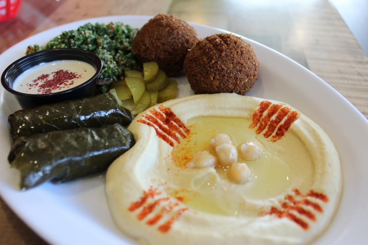 Vegetarian Combo (Falafel, hummus, tabouli salad, and stuffed grape leaves).JPG