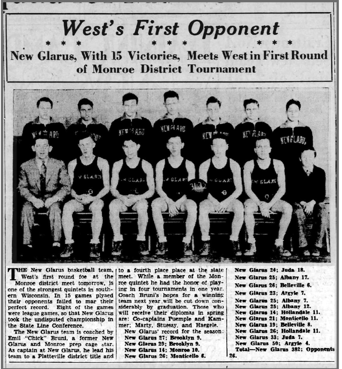 WIAA boys basketball history photo: Previewing New Glarus' 1932 district opener against Madison West