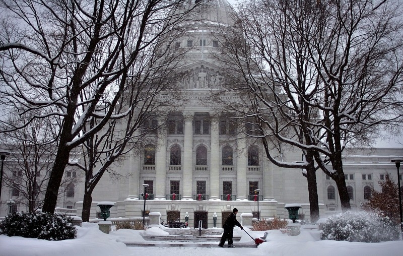 A snowy state Capitol