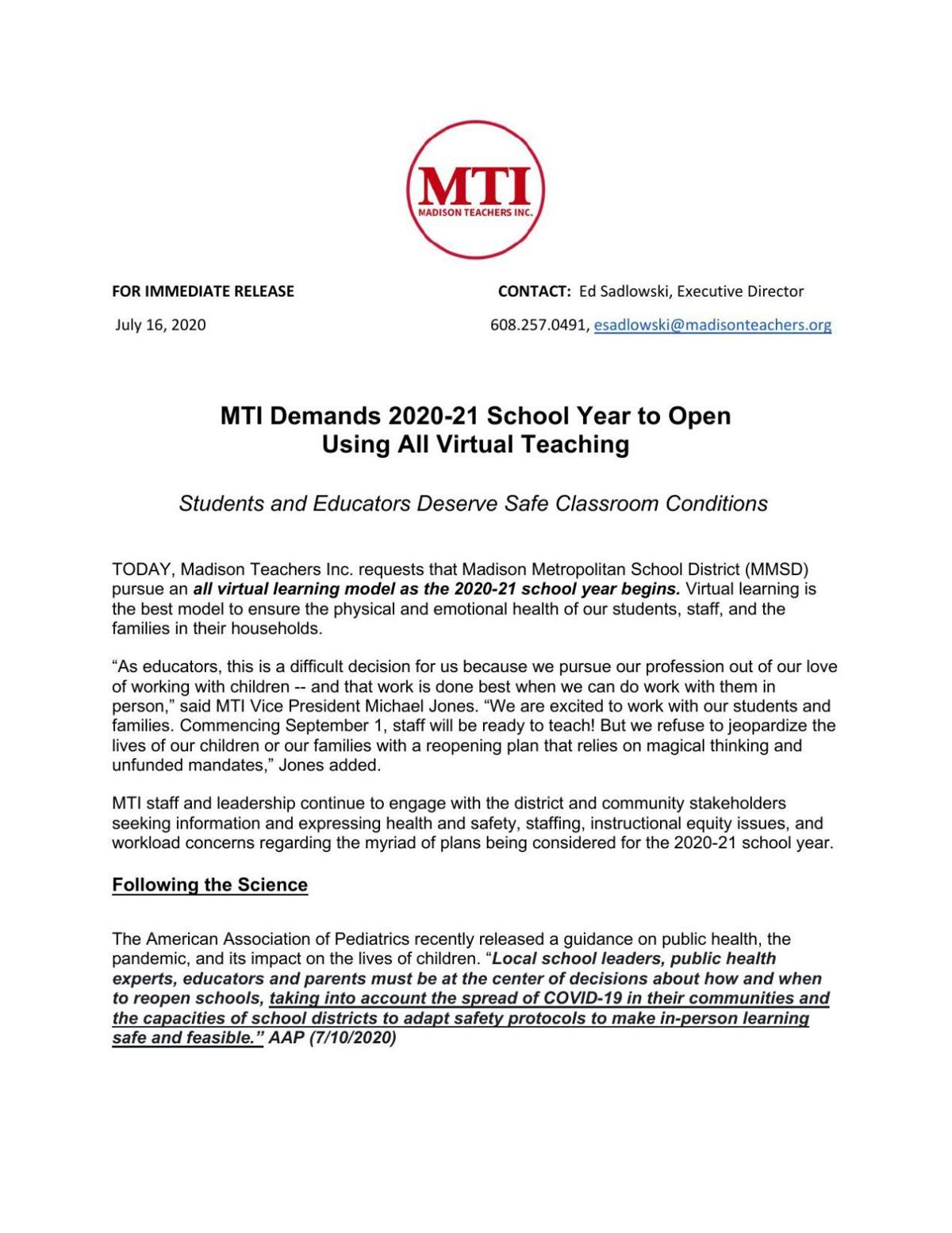 MTI statement