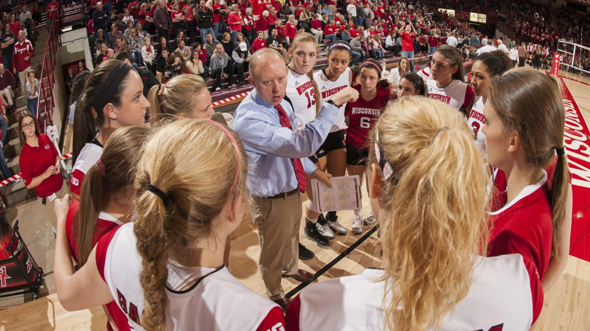 Coach Kelly Sheffield with Badgers volleyball, UW file photo (copy)