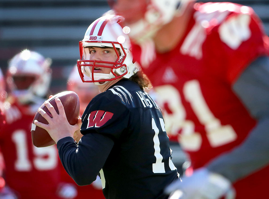free shipping 1286d 7551c Badgers football: QB competition between Bart Houston, Alex ...