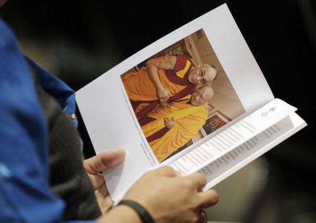 Dalai Lama and Geshé Sopa in program