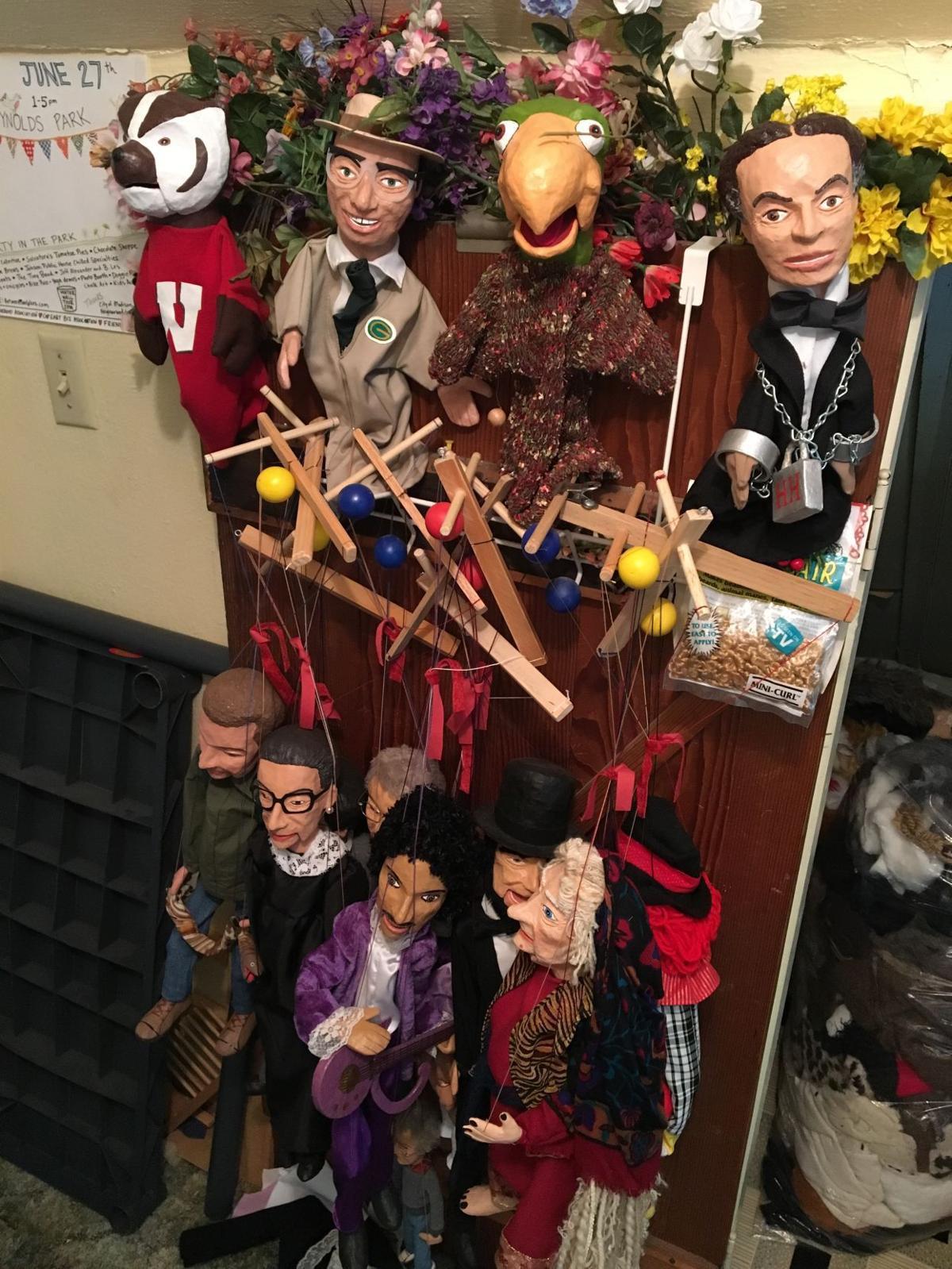 Display of Ken Vogel's puppets
