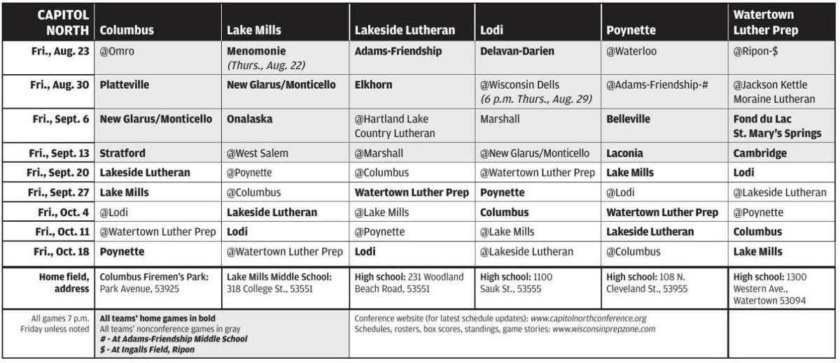 Prep football: 2019 Capitol North Conference schedule