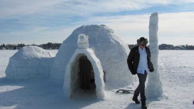 Phil Geiger and Lake Monona igloo