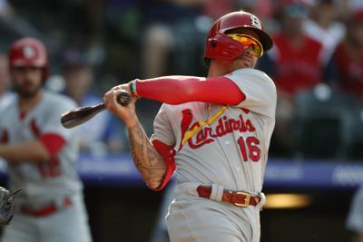 Kolten Wong bats with Cardinals, AP photo