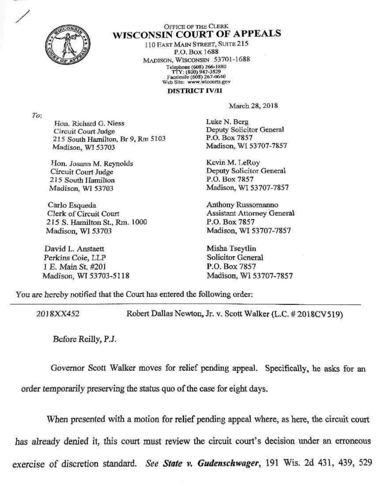 Appeals court denial