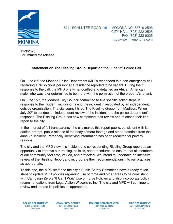 Monona Police June 2 incident review