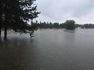 Flooded soccer fields