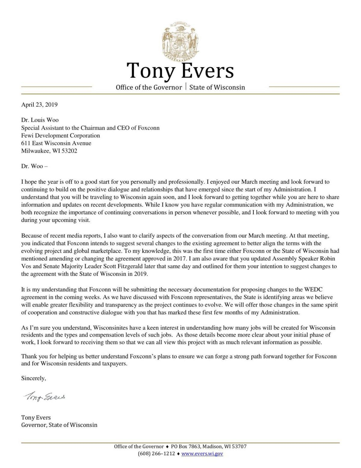Evers Foxconn letter to Louis Woo