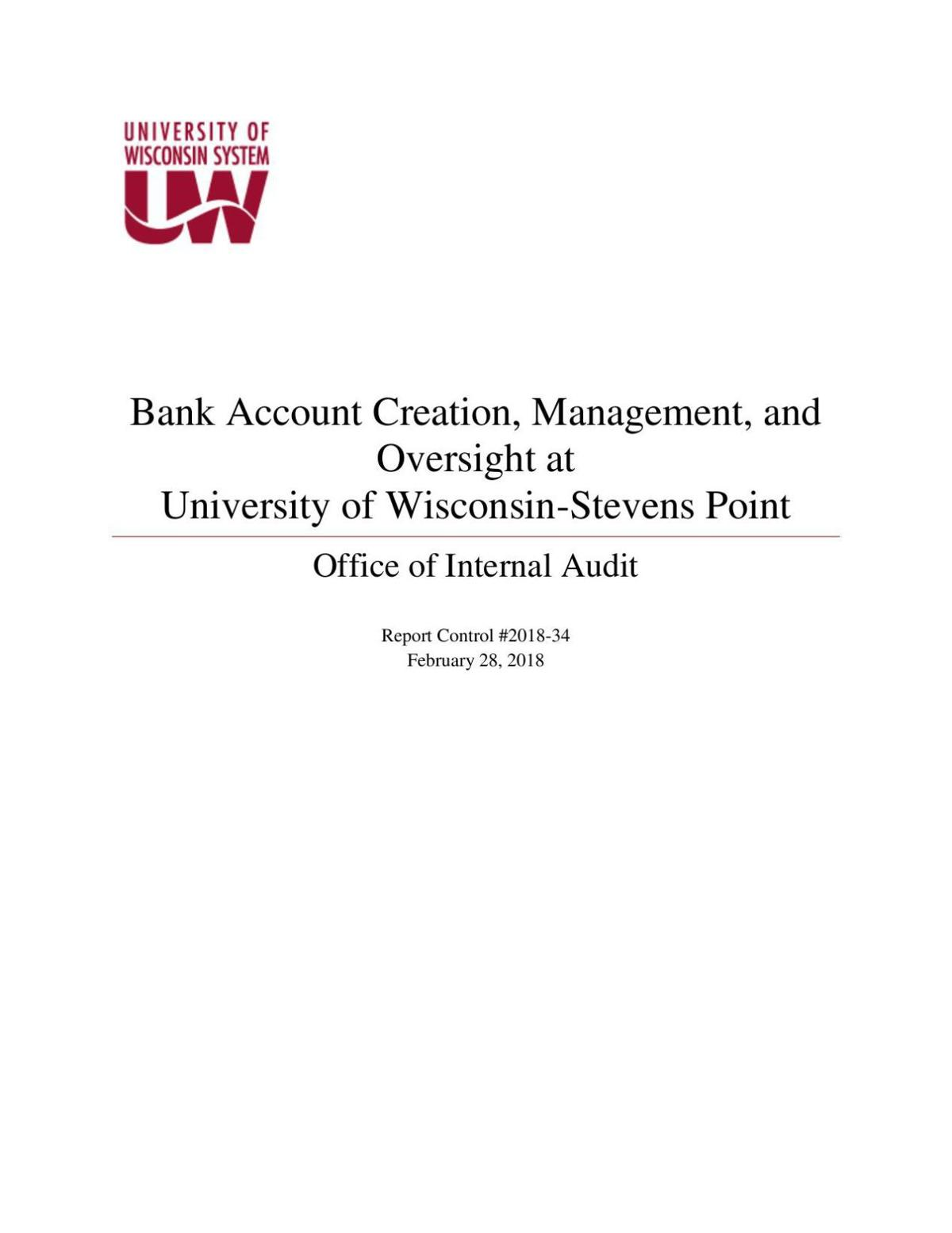 Bank Account Creation, Management and Oversight at UW-Stevens Point