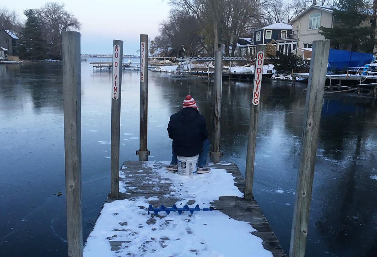 Ice angler at Spring Harbor