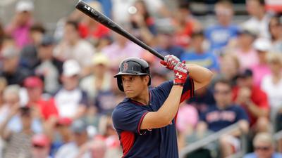 Garin Cecchini batting, Brewers, MLB.com photo