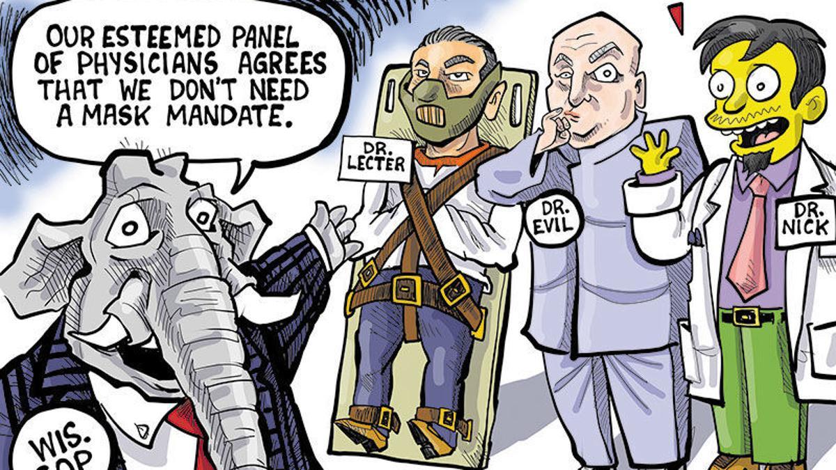 Hands on Wisconsin: Republican anti-mask panel is full of quacks   Opinion    Cartoon   madison.com