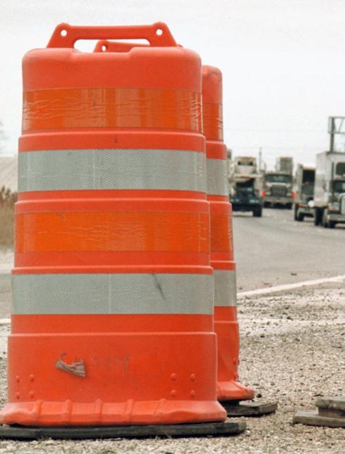 Road construction barrels, vertical generic file photo