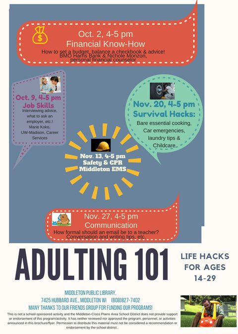 adulting 101 MIDDLETON PUBLIC LIBRARY