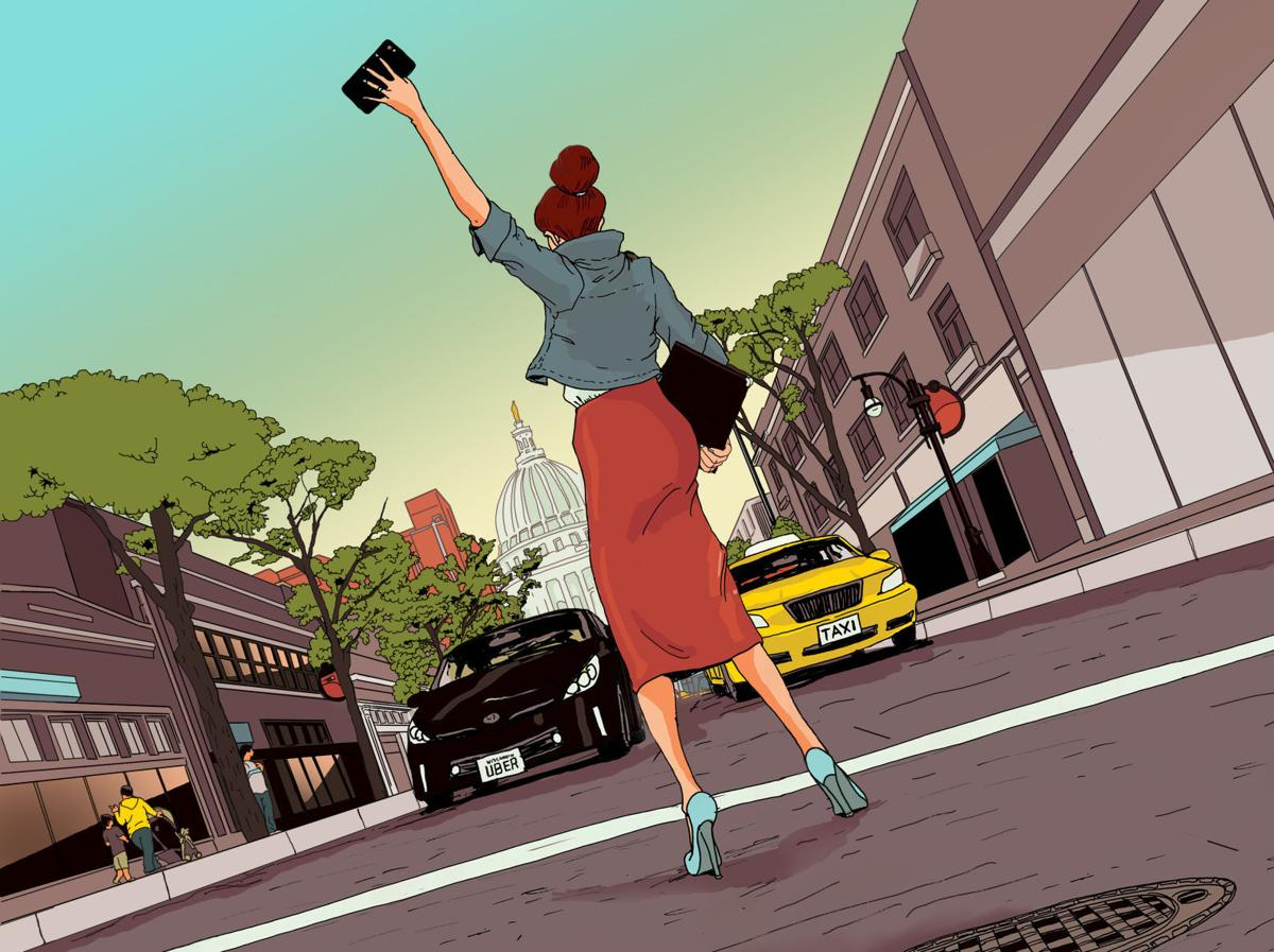 uber and taxi illo