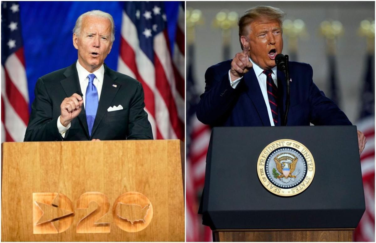 Joe Biden and Donald Trump mashup, AP generic file photos