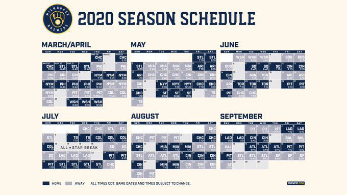 Brewers 2020 schedule