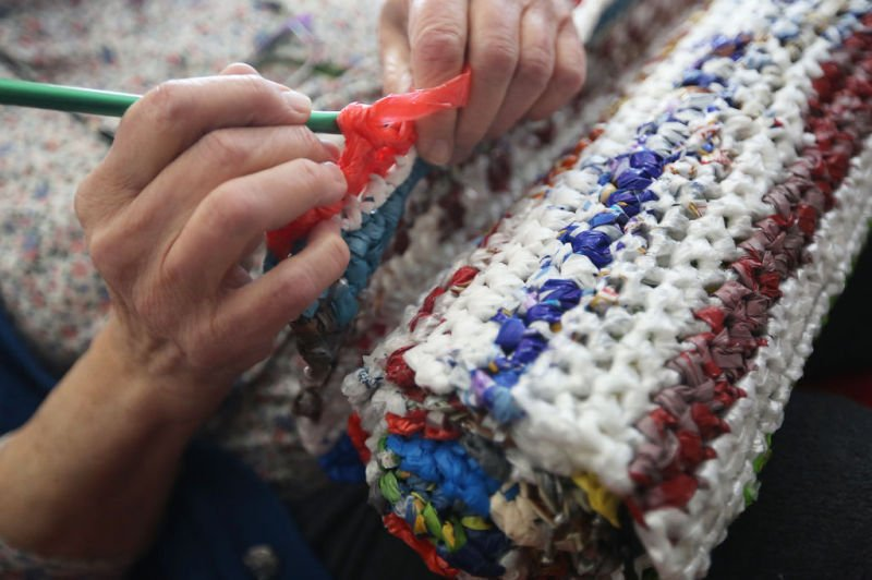 Around Town Madison Woman Makes Mats For The Homeless Out Of