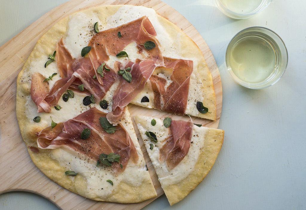 Food Deadline Burrata and Prosciutto Pizza