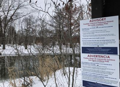 PFAS sign on Starkweather Creek (copy)