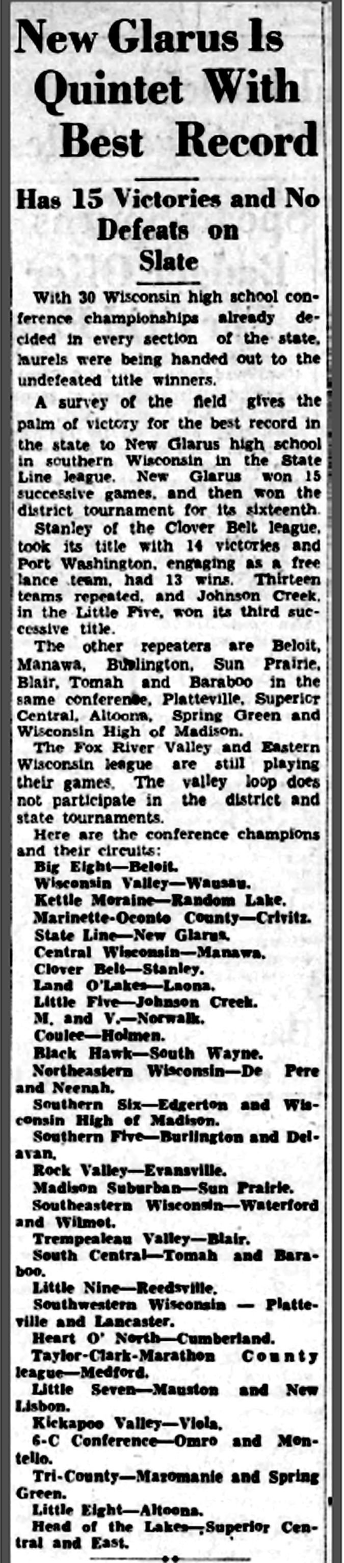 WIAA boys basketball history photo: New Glarus wins the 1932 State Line League title