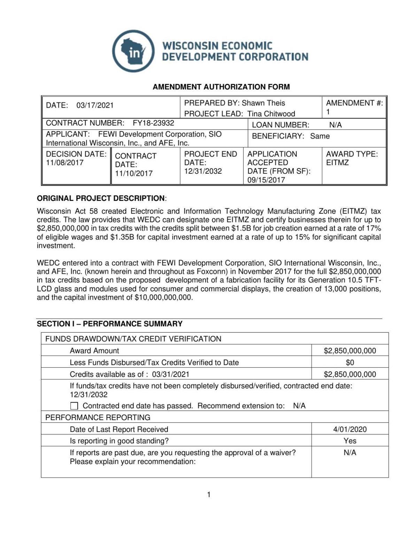 WEDC Foxconn amendment authorization form