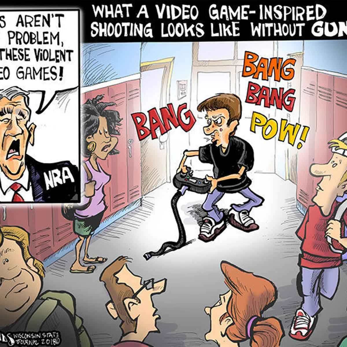 Hands On Wisconsin Video Games Get The Blame For Gun Violence Opinion Cartoon Madison Com