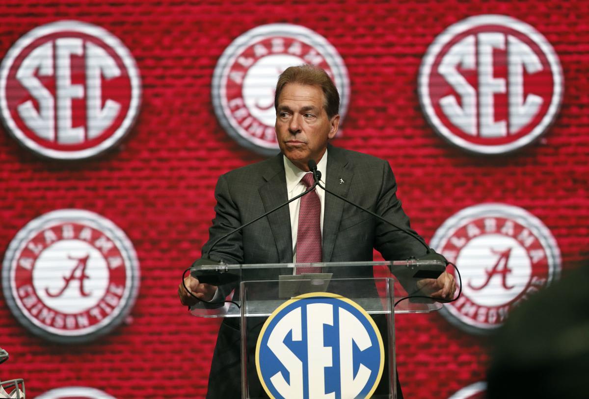 Nick Saban SEC Media Days, AP photo