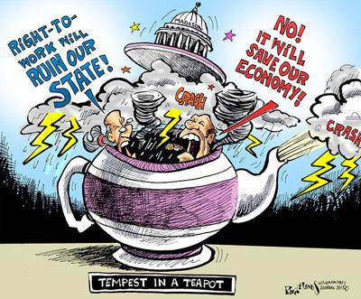 Hands Cartoon: Tempest in a Teapot
