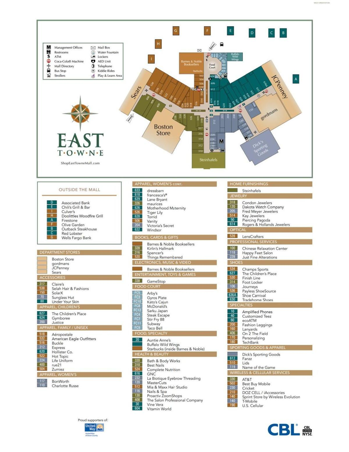West Towne Mall Map Map of East Towne Mall | | madison.com West Towne Mall Map