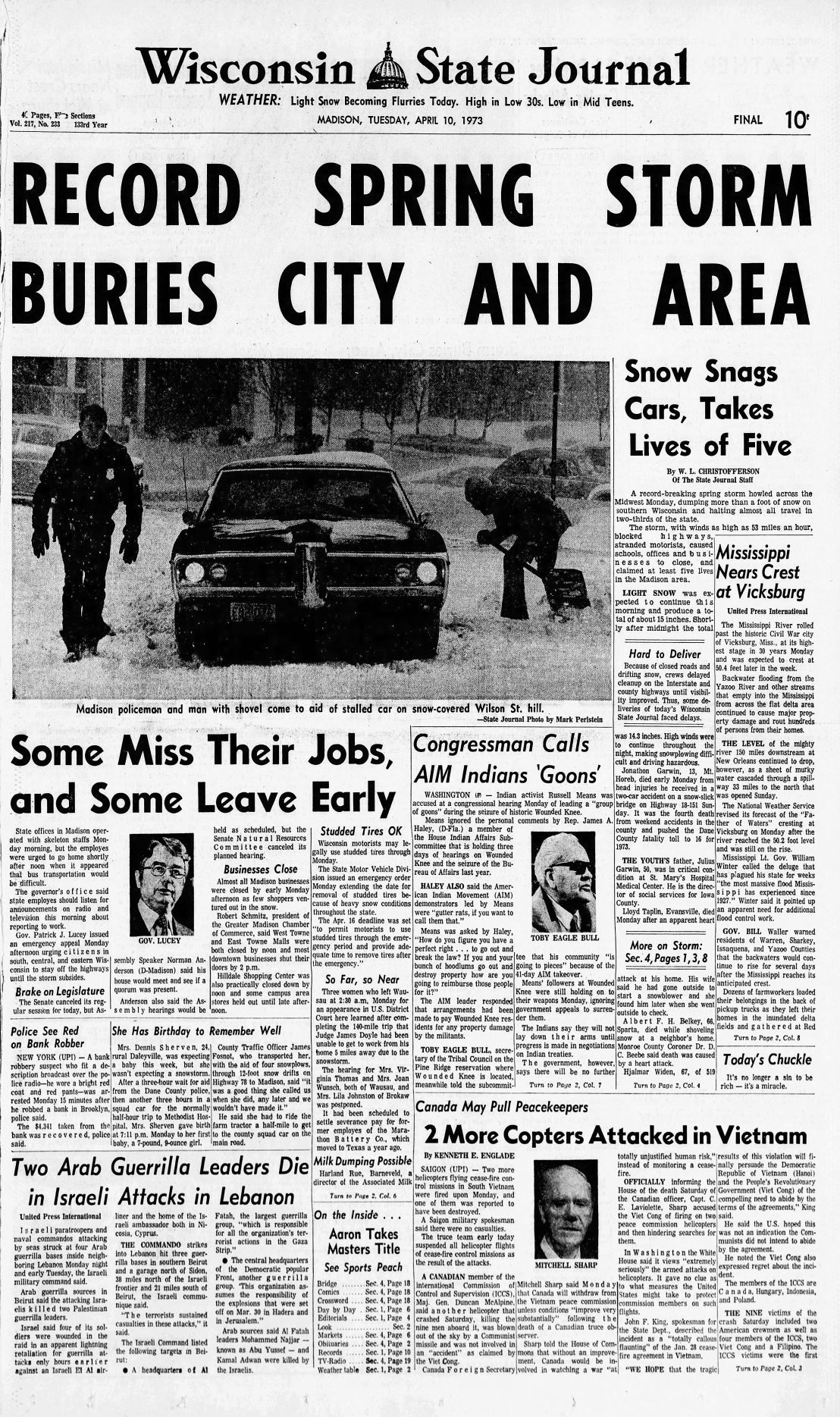 Front page of the Wisconsin State Journal, April 10, 1973