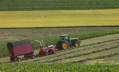 Farmland values, farmer collecting hay (copy)