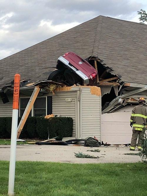 Truck through roof
