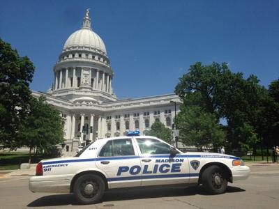 Madison police squad outside Capitol building