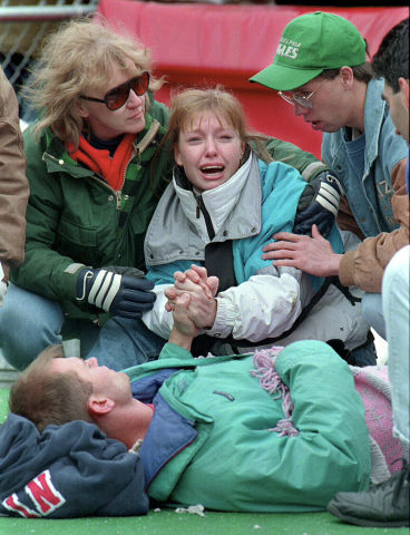 Grieving fans at Camp Randall