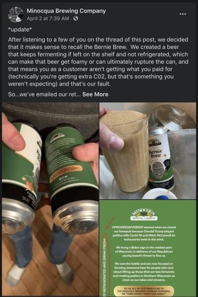 Minocqua Brewing Co. Facebook post
